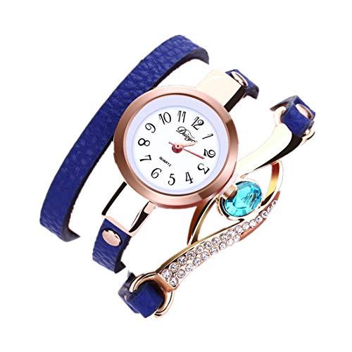 JINLILE Montre Femme Pas Cher Fantaisie A La Mode De Luxe Montre à Quartz Bracelet Cuir Diamants Fille Simple à La FêTe ÉLéGant Bijoux Chic (Bleue)