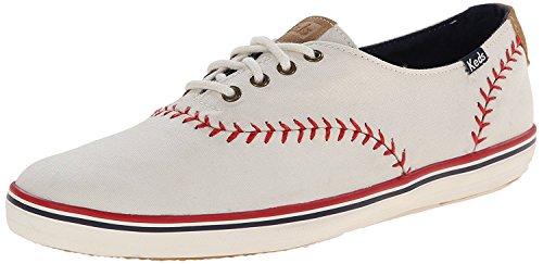 Keds Women's Champion Pennant Baseball Fashion Sneaker,White Leather,9 M US US