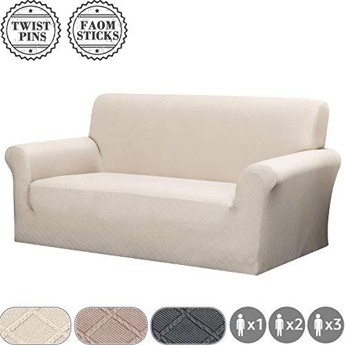 Fuloon Sofabezug Stretch, Couchbezug Sesselbezug elastische Sofahusse, Antirutsch Sofa überwürfe Sofa Abdeckung Sofahusse 148-180cm(2 Sitzer, Beige)