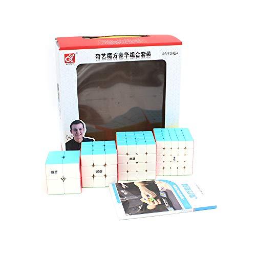 Cubelelo QiYi 2x2 3x3 4x4 & 5x5 Stickerless Combo Set Speedcubing Bundle Cubes Magic Puzzle 5