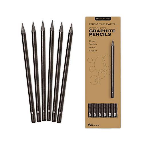 Lápices de grafito profesional 2B sin madera de plomo de precisión para bosquejos, escritura de sombreado de escritura de carbón de leña, color negro (juego de 6 lápices de lujo)
