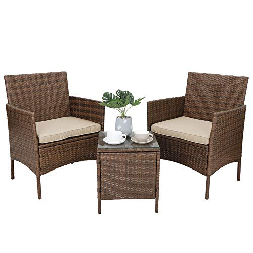 Patio Porch Furniture Sets 3 Pieces PE Rattan Wicker Chairs w/Table, Brown