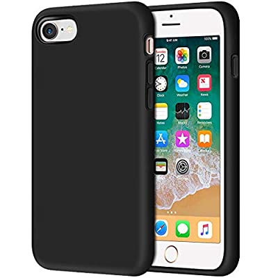 """iPhone 8 Case, Anuck Non-Slip Liquid Silicone Gel Rubber Bumper Case with Soft Microfiber Lining Cushion Hard Shell Shockproof Full-Body Protective Case Cover for Apple iPhone 7/8 4.7"""" - Black"""