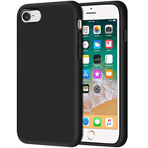 iPhone 8 Case, Anuck Non-Slip Liquid Silicone Gel Rubber Bumper Case with Soft Microfiber Lining Cushion Hard Shell Shockproof Full-Body Protective Case Cover for Apple iPhone 7/8 4.7' - Black