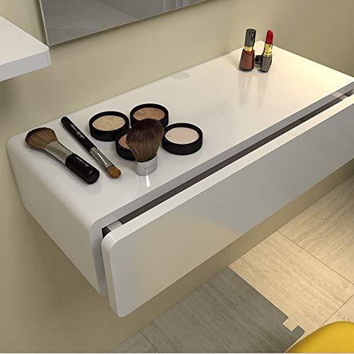 LYN-MEMORY Zwevende kast, zwemdok planken display rek houten plaatrekken met lade kaptafel slaapkamer interieur, 40 * 26 * 15 cm, wit wandrek