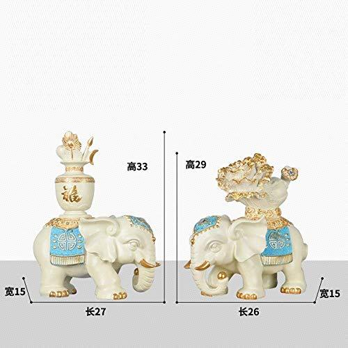 LHQ-HQ Estatua animal Decoración Escultura Adornos Estatuas Elefante Feng Shui Decoración Bebé Elefante Par Estilo Europeo Sala Porche Museo Estante Vino Gabinete Dec