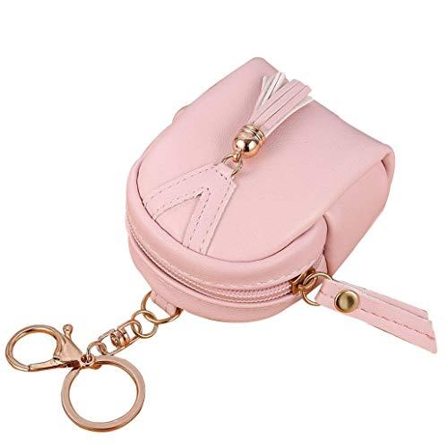 Vektenxi Premium Qualität Frauen Quasten Reißverschluss Kunstleder Münzbeutel Mini Schlüsselanhänger Rucksack Tasche Hellrosa