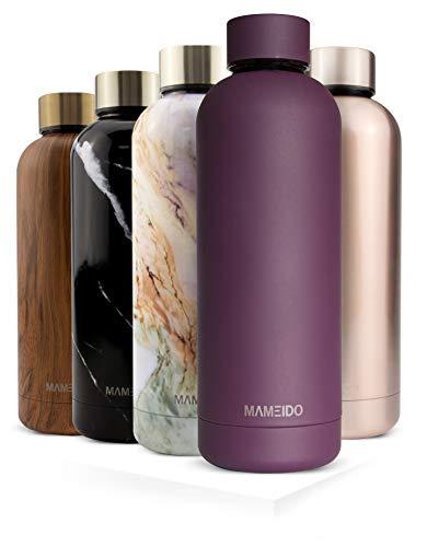 MAMEIDO Botella de agua, acero inoxidable 500 ml - Frasco de metal aislado, reutilizable, a prueba de fugas, sin BPA para adultos, niñas y niños mantiene frío 24 h, caliente 12 h (500ml, Mauve Purple)