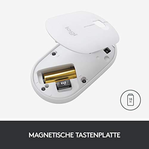 Logitech M350 Pebble Kabellose Maus, Bluetooth und 2.4 GHz Verbindung via Nano USB-Empfänger, 18-Monate Akkulaufzeit, 3 Tasten, Leises Klicken und Scrollen, PC/Mac/iPadOS – Grafit/Schwarz - 7