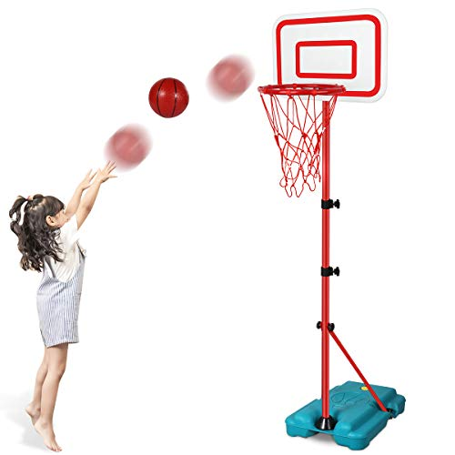 N/C Kids Basketball Hoop Stand Adjustable Height 2.9 ft -6.2 ft Indoor Basketball Hoop Outdoor Toys Outside Backyard Games Mini Hoop Basketball Goal Gifts for Boys Girls Toddlers Age 3 4 5 6 7 8