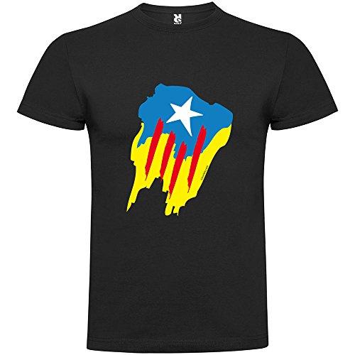 Camiseta Catalunya Estelada Pintada Manga Corta Hombre Negro L