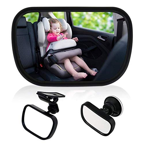Bebé Espejo Retrovisor para Vigilar al Bebé en Coche,  360°Ajustable Espejo con Clip y con Ventosa,  Inastillable Espejo Coche, Espejo de seguridad para niños