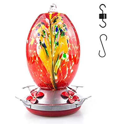 Muse Garden Hummingbird Feeder for Outdoors, Hand Blown Glass, 25 Ounces, Containing Ant Moat