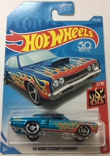 Hot Wheels HW FLAMES 7/10 BLUE WITH FLAMES  69 DODGE CORONET SUPERBEE 206/365