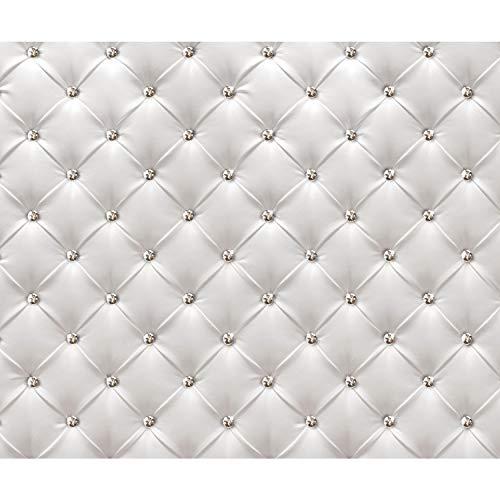 decomonkey Fototapete Leder Deluxe 350x256 cm XXL Design Tapete Fototapeten Vlies Tapeten Vliestapete Wandtapete moderne Wand Schlafzimmer Wohnzimmer Diamanten