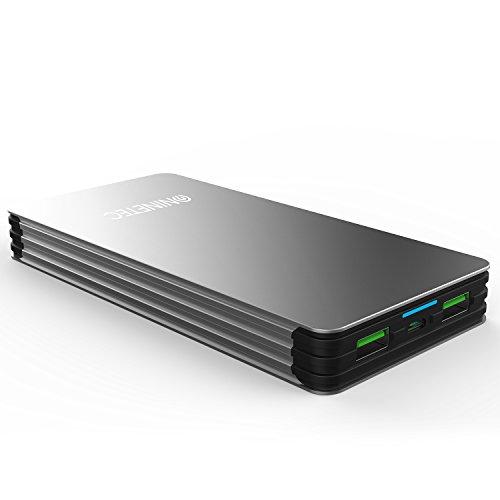 NINETEC NT-615 Powerbank / Akku Ladegerät 15000mAh aus Alu mit für Apple Iphone, iPad, Samsung, HTC, Motorola, Sony Xperia, Nokia, PSP, LG, Kindle & viele weitere Geräte
