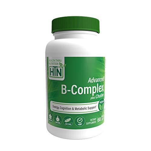 Advanced B-Complex - High Potency with 550mg Choline, B1, B2, B3, B6, Folate, B12, Biotin, B5 - Sustained Release, by Health Thru Nutrition 60 Vegecaps