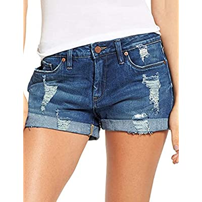 Women's Mid Rise Rolled Hem Distressed Jeans Ripped Denim Shorts
