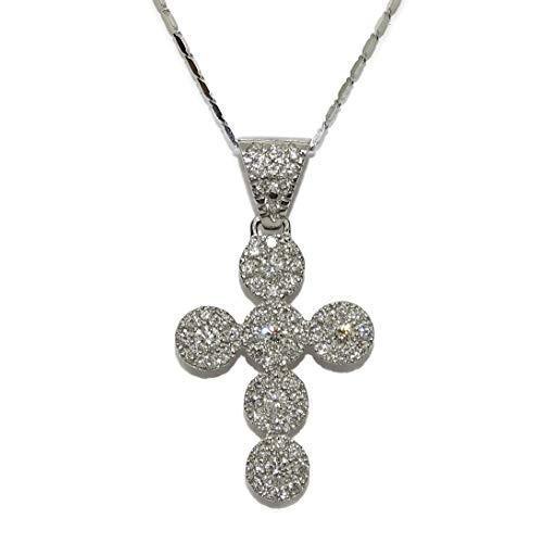 Cruz de Oro Blanco de 18k con 63 Diamantes Talla Brillante Que Suman 1.40cts y con Cadena de eslabones Cuadrados de 45cm de Larga. Cierre reasa. Peso Total; 7.65gr de Oro de 18k