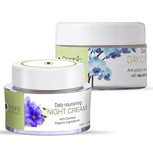 Organic Harvest Combo of Daily Nourishing Night Cream (15gm) and Daily Day Cream (15gm), ECOCERT & PeTA Certified, Paraben & Sulphate Free