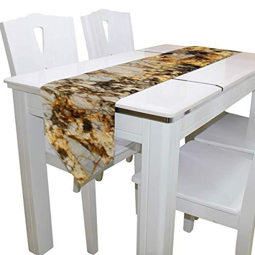 N/A eettafel loper of dressoir sjaal, graniet marmer en kwarts dek tafelkleed loper koffie mat voor bruiloft partij banket decoratie 13 x 90 inch