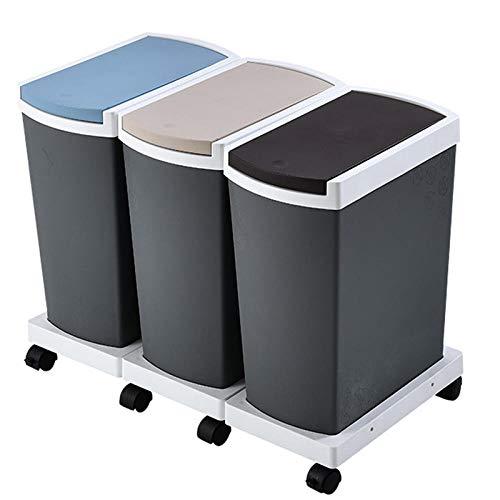 45L Cubonde Basura Cocina de El Plastico 3 Cubos Basura para Cocina de 15L Basura para Reciclar Tapa con Bisagras