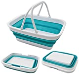 SAMMART 9.2L (2.37Gallon) Collapsible Tub with Handle - Portable Outdoor Picnic Basket/Crater - Foldable Shopping Bag - Space Saving Storage Container (1, Bright Blue)