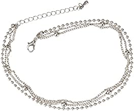 SPUNKYsoul 3 Chain Anklet Gold for Women (Silver Ball Chain)