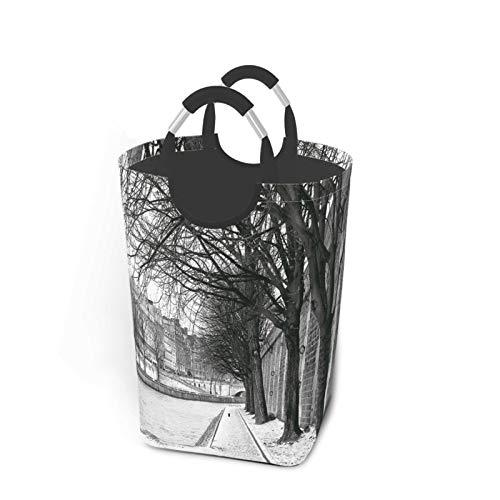 ALLMILL Bolsa de lavandería,Río Sena París Francia Invierno Cubierto de Nieve en los árboles de la Ciudad Urbana,Cesta de lavandería Plegable Grande,Cesto de Ropa Plegable,Papelera de Lavado Plegable