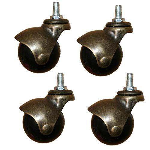 Barm Ruedas de bola de bronce envejecido, ruedas para muebles, fijación de varilla roscada M8/M10 mm, ruedas para silla de oficina, sofá o mesa de café (M84 piezas)