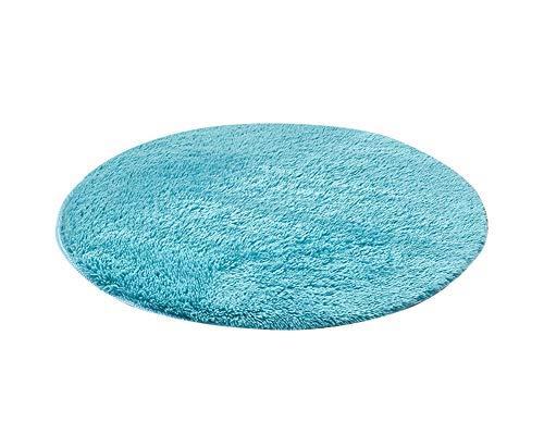 Tapis Shaggy à Poils Longs Rond - Anthracite - 9 Tailles Disponibles Bleu Saphir 80 * 80CM