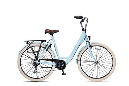 28 Zoll Damen Mädchen City Trekking Fahrrad Rad Bike Damenrad Cityfahrrad Damenfahrrad Cityrad Trekkingfahrrad Trekkingrad 7 Shimano Gang Beleuchtung STVO ALTEC Metro 55 cm Sky Blue BLAU