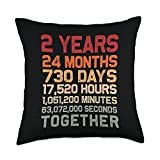 Couple 2nd Anniversary Gifts Co. Retro 2 Years Together Cool 2nd Couple Wedding Anniversary Throw Pillow, 18x18, Multicolor