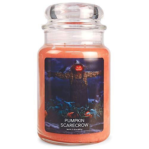 Village Candle Pumpkin Scarecrow Large Glass Apothecary Jar Scented Candle, 21.25 oz, Orange