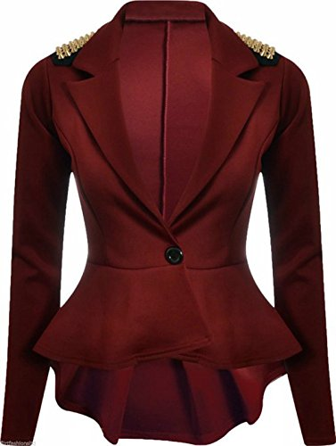 FashionMark Womens Spikes Studded Crop Peplum Frill Button Blazer Jacket Coat Wine