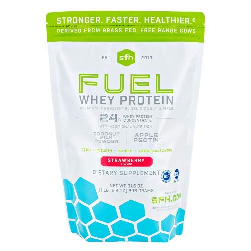 Fuel Whey Protein Powder (Strawberry) by SFH | Great Tasting Grass Fed Whey | MCT & Fiber for Energy | All Natural Soy Free, Gluten Free, No RBST, No Artificial Flavor | 28 Servings (2 lb Bag)