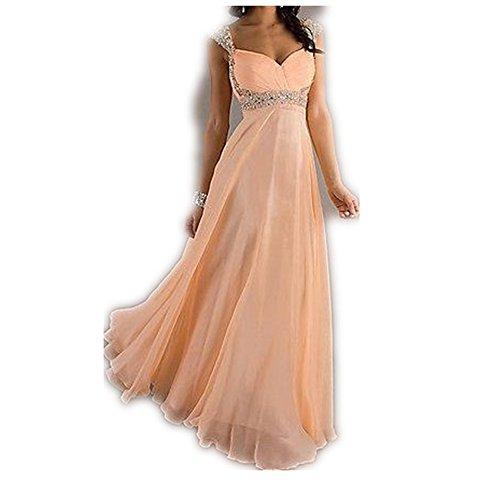 YASIOU Damen Elegant Lang A Linie Herzausschnitt Chiffon Glitzer Jugendliche Mädchen Offener Rücken Abendkleid