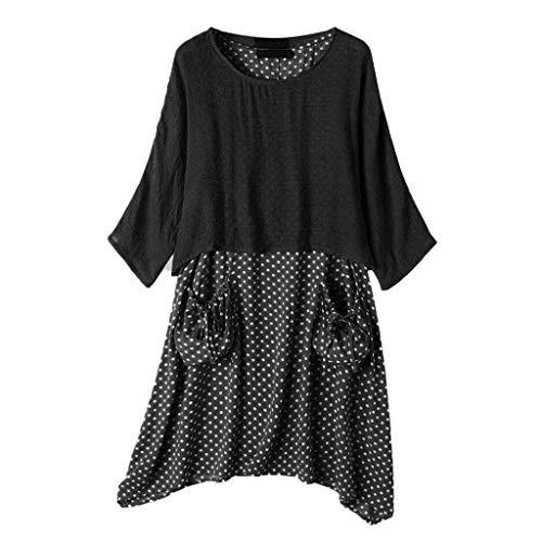 WGNNAA Damen Sommer Kleid 2tlg Vintage Kleidanzug Bluse und Unterkleid Lagenlook Tunika Kleid mit Taschen Urlaub Strand Kleider Polka Dot Swing Kleid Unregelmäßige Saum Zweiteilig Kleid
