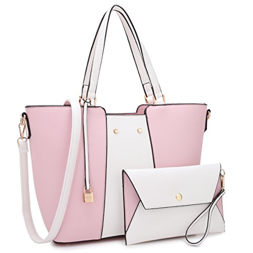 Women Large Vegan Leather Tote Bag Two Tone Handbag Fashion Work Bag Shoulder Purse (Pink/White)