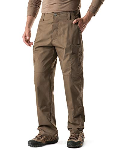 CQR Men's Tactical Pants, Military Combat BDU/ACU Cargo Pants, Water Repellent Ripstop Work Pants, Hiking Outdoor Apparel, Brigade Pants(ubp02) - Coyote, Medium[W32-36]-Regular
