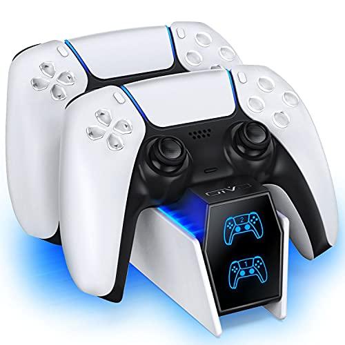 OIVO PS5 Controller Ladestation, PS5 Ladestation Controller mit 2-Stunden-Ladechip, Ladegerät für Sony Playstation 5, Schnellladung inklusive 2 Kabeln, LED-Ladestatusanzeige, Weiß