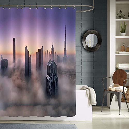 N\A Cortina de ducha Misty Dubai Skyline, rascacielos del Centro de Dubai a través de la niebla de la mañana, decoraciones de baño, Tela lavable a máquina Resistente al Agua, Gris Púrpura