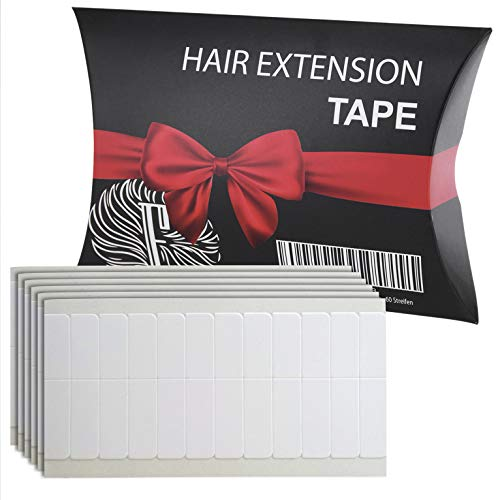 Fidentia Hair Extension Tape | 60 Klebestreifen für Tape-In Haarverlängerung, Tressen und Haarteile | transparent - Stärke: Super-Tape | 4cm x 0,8cm
