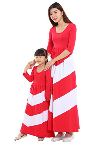 Wennikids Cotton Material Mommy and Me Chevron Maxi Dress Long Sleeve Red Women XX-Large