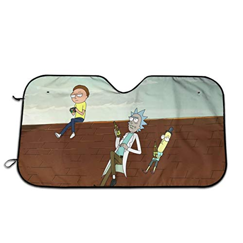 Rick and Morty Car Front Windshield Sun Shade Visor Folding Auto Sunshade for Car Truck SUV Keep Your Vehicle Cool-Rick Morty and Mr Poopybutthole