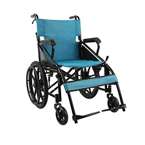 Y-L Gehandicapten Ouderlijk Lichtgewicht Vervoer Volwassen Opvouwbare Rolstoel met 4 Handremmen, Verhoogde Beensteunen voor Extra Comfort, Blauw, 14.17