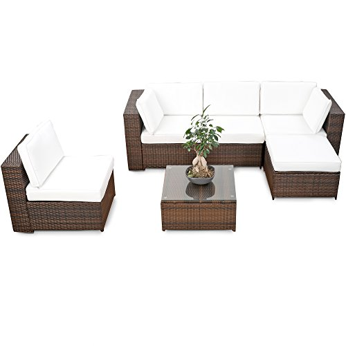 XINRO® erweiterbares 18tlg. XXL Lounge Set Polyrattan - braun - Gartenmöbel Sitzgruppe Garnitur Lounge Möbel Set aus Polyrattan - inkl. Lounge Sessel + Hocker + Ecke + Tisch + Kissen