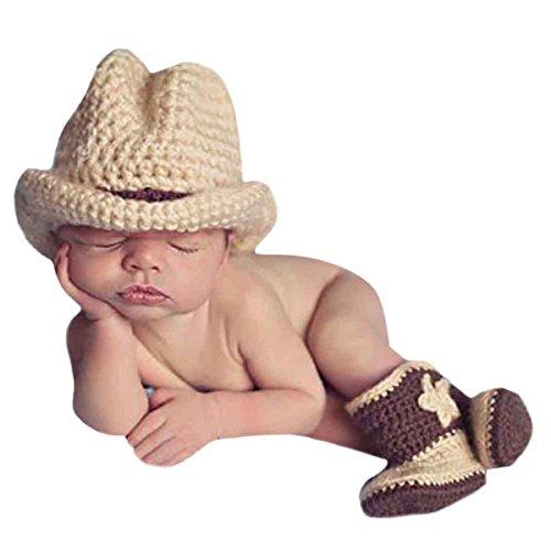 AKAAYUKO Neugeborenes Baby Junge Mädchen Handgefertigt Häkelware Fotografie Kostüm (Cowboy Hut Stiefel)