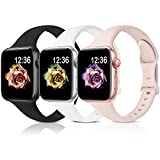Sport Band Compatible with Apple Watch Bands 38mm 40mm 42mm 44mm,Soft Silicone Narrow Slim Thin Small Strap Wristbands for Iwatch Series 6 5 4 3 2 1 SE, Women Men(Black,White,Pink Sand,38/40mm)