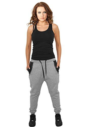 Urban Classics Ladies Side Zip Leather Pocket Sweatpant Pantalon, Gris (111), XL Femme